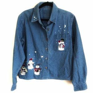 Christopher & Banks Vintage Christmas Jean Jacket